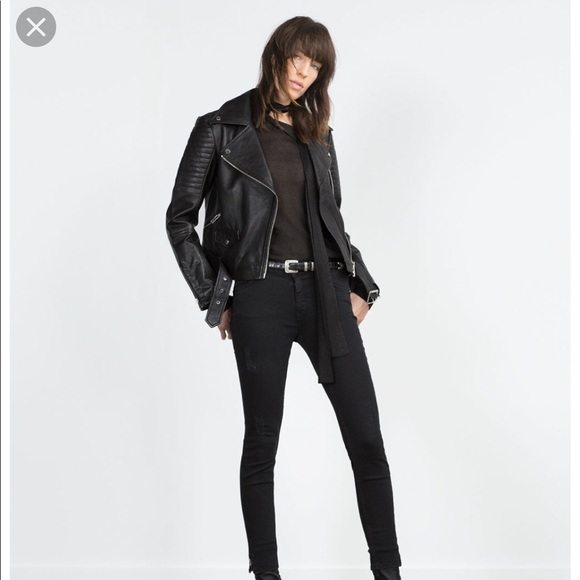 NWT ZARA REAL LEATHER BIKER JACKET WITH ZIPS COAT BLAZER PADDED QUILT All size